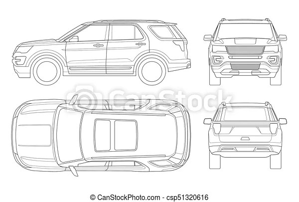 Outline off-road write car or modern vip transport