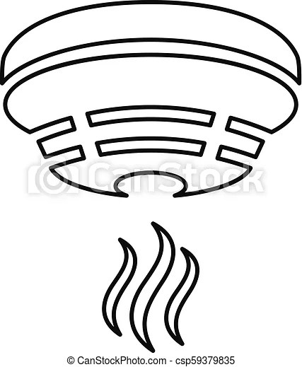 Outline smoke detector icon on white background.