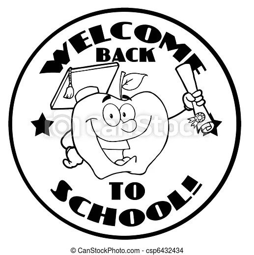 Outlined apple character . Black and white welcome back to