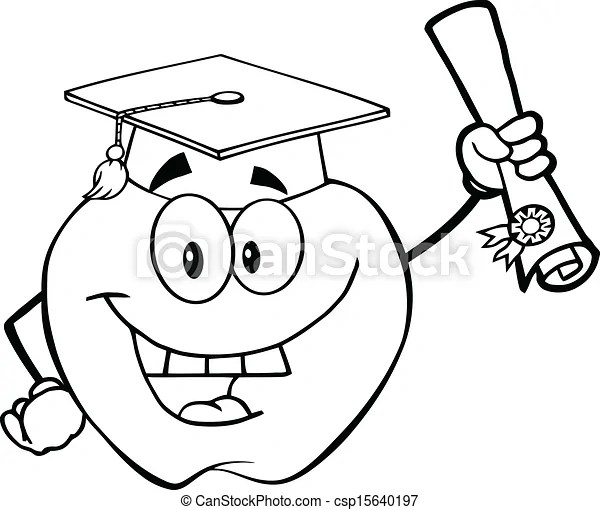 Outlined apple holding a diploma. Black and white happy