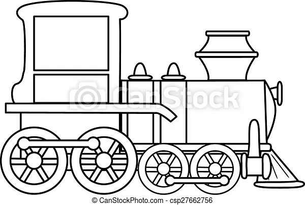 Outlined cartoon train toy. vector.