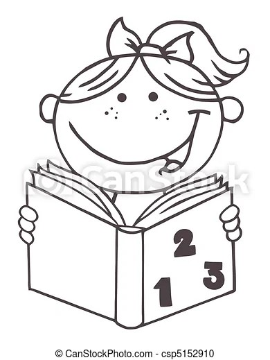 Outlined kid girl reading a book. Coloring page outline of