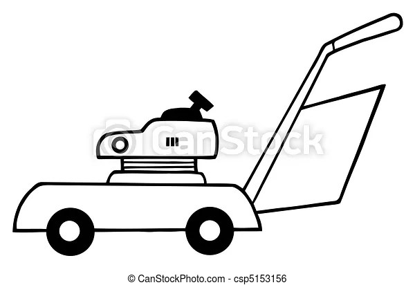 Outlined lawn mower. Coloring page outline of lawn mower.