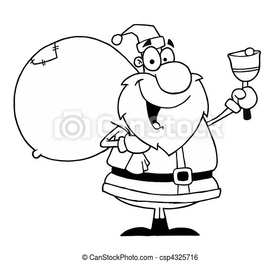 Outlined santa with bell. Black and white coloring page