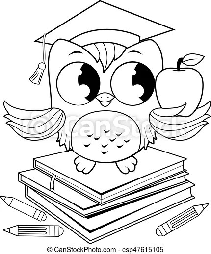 Owl on books with graduation hat coloring book page. A