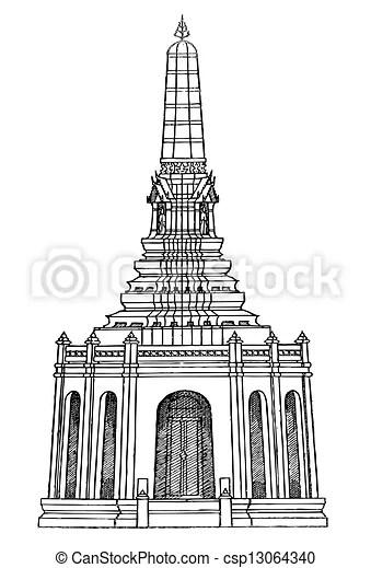 Pagoda line thai. Classic, history, striped, thailand