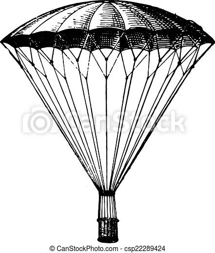 Parachute, vintage engraving. Parachute, vintage engraved