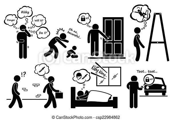 Paranoid paranoia cliparts. A set of human pictogram