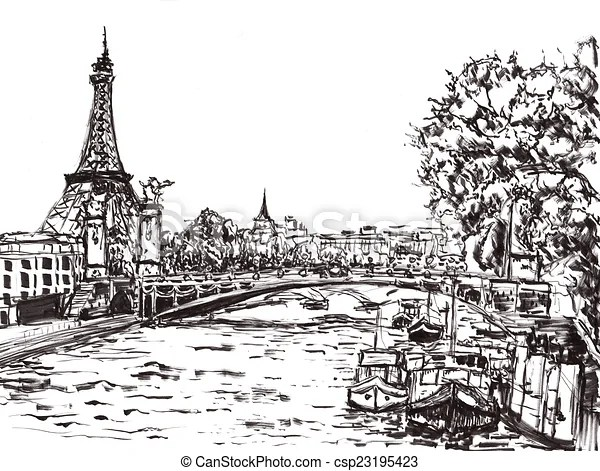 Paris river hand draw on paper.