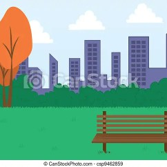 Office Chair Illustration Folding Chairs With Cushions Park Scene And Buildings . Bench City... Eps Vectors - Search Clip Art ...