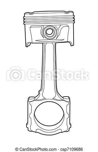 Part of engine. Black outline vector illustration (engine