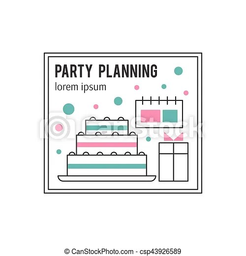 Party planning line icon. Vector thin line icon, cake