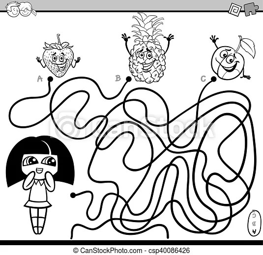 Path maze activity coloring book. Black and white cartoon