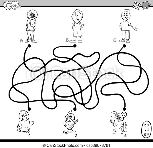 Path maze coloring page. Black and white cartoon