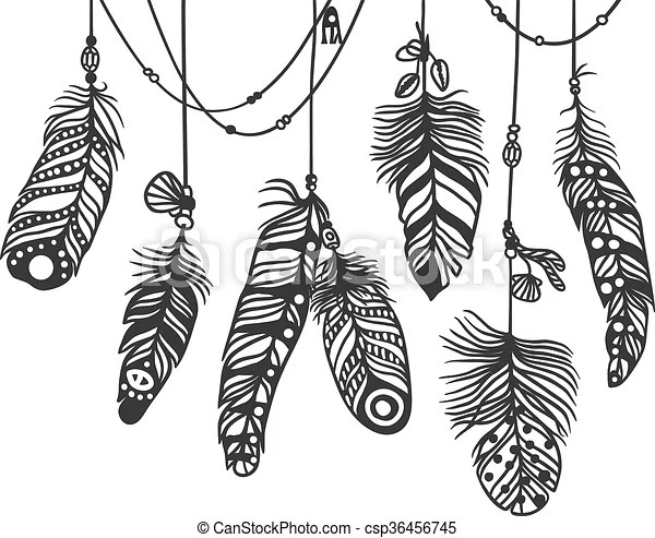 pattern with decorative feather