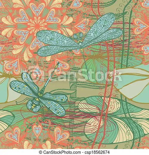 pattern with dragonflies and