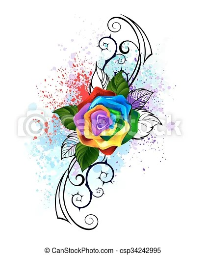 Rainbow Rose Drawing : rainbow, drawing, Patterned, Rainbow, Rose., Bright, Spiked, Pattern, White, Background,, Shaded, Splashes, Paint., CanStock
