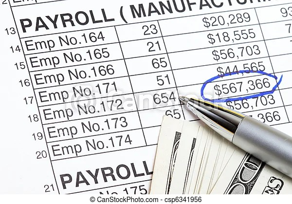 Payroll abstract with us dollars and payroll spreadsheet.