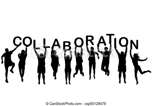 People silhouettes holding letter with word collaboration.