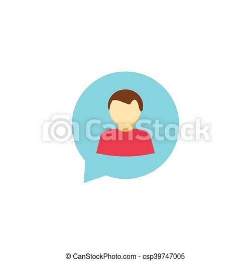 Person chat icon vector isolated. talking symbol. dialog logo. message. Person chat icon vector isolated on white. flat abstract man silhouette ...