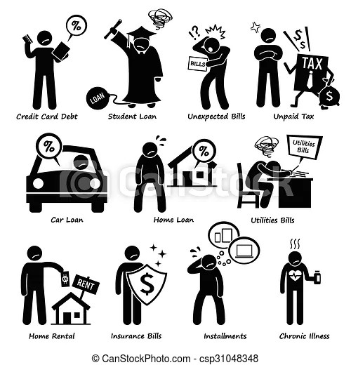 Personal liabilities pictogram. Set of pictogram