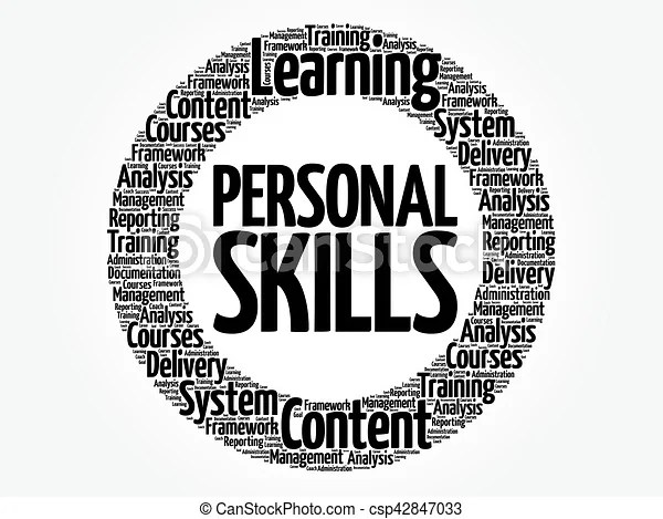 Personal skills circle word cloud, business concept.