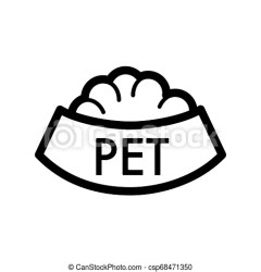 Pet bowl with food simple vector icon black and white illustration of dog and cat bowl outline linear icon eps 10 CanStock