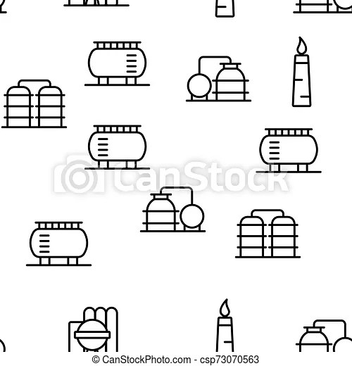 Petrochemical industry vector seamless pattern thin line