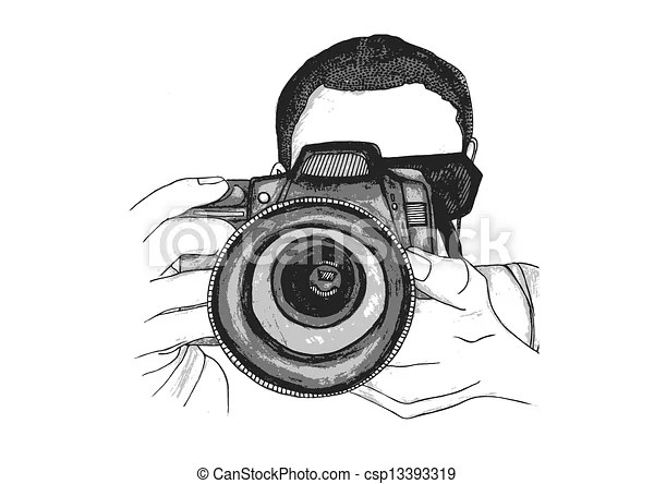 Photographer taking a picture. A vector watercolour