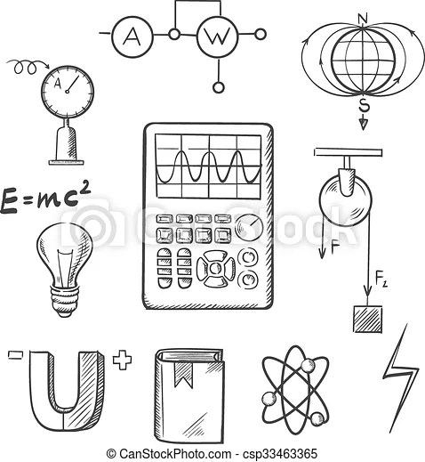 Physics and mechanics sketch icons. Science sketch icons