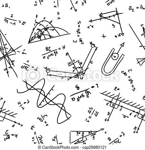 Physics pattern. Seamless pattern with physics formulas on
