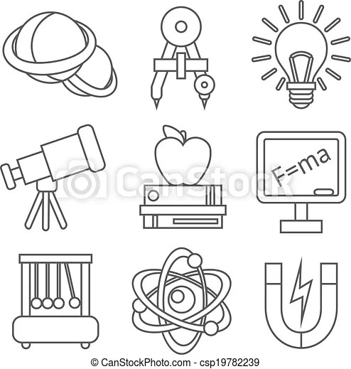 Physics science icons. Physics science equipment school