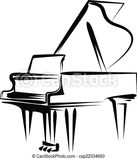 Simple vector illustration of a grand piano.