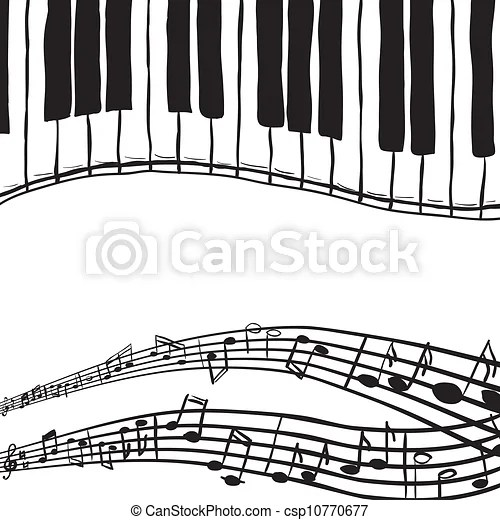 Piano keys and music notes. Illustration of piano keys and