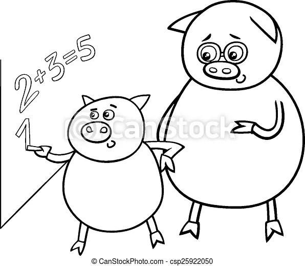Piglet at match coloring page. Black and white cartoon