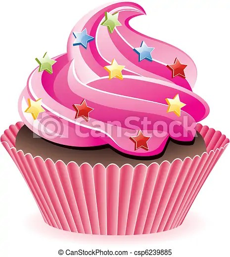 vector pink cupcake with sprinkles