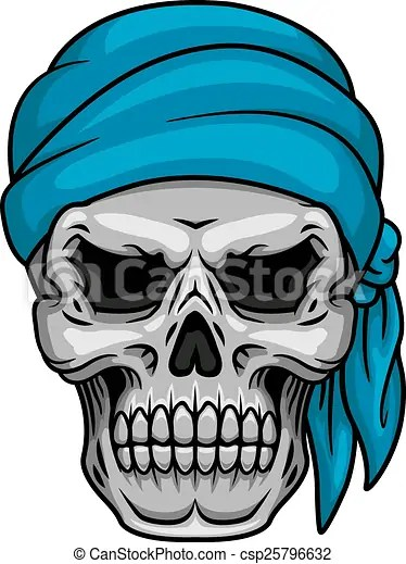Pirate skull in blue bandana for piracy halloween or