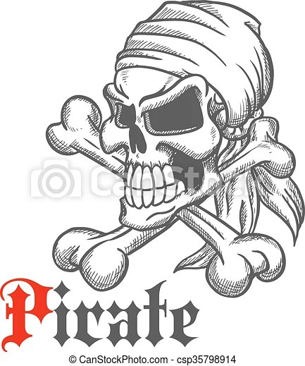 Pirate skull sketch with crossbones Spooky jolly roger