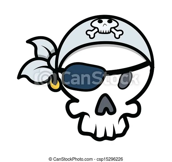 Pirate skull vector cartoon Drawing art of cartoon