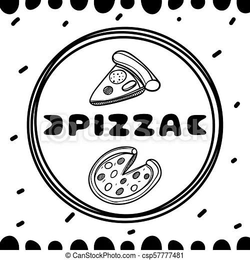 Pizza cover for cafe. sketch concept illustration. food