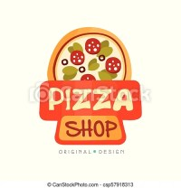 Pizza shop logo design template, label of pizza restaurant ...