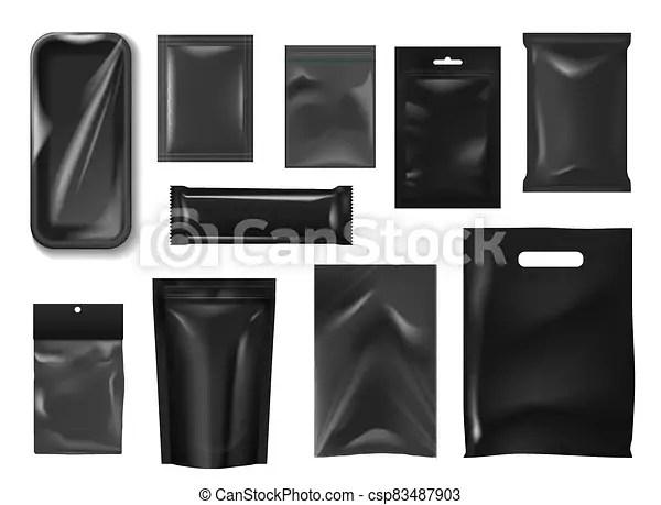 Aluminum food packaging sachet mockup. Plastic Packs Bags Realistic Mockup Food Package Plastic Packs And Bags Realistic Mockup Of Vector Food Packages Black Canstock