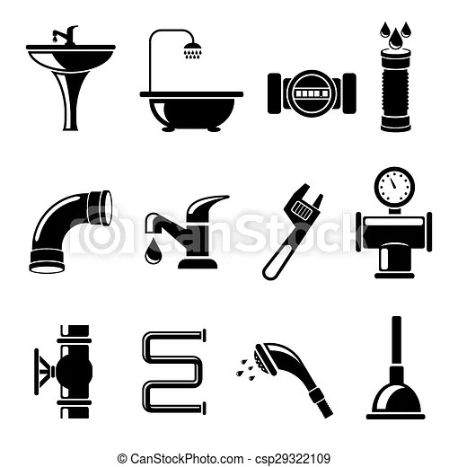 Plumbing icons set. pipe and counter, shower and bath