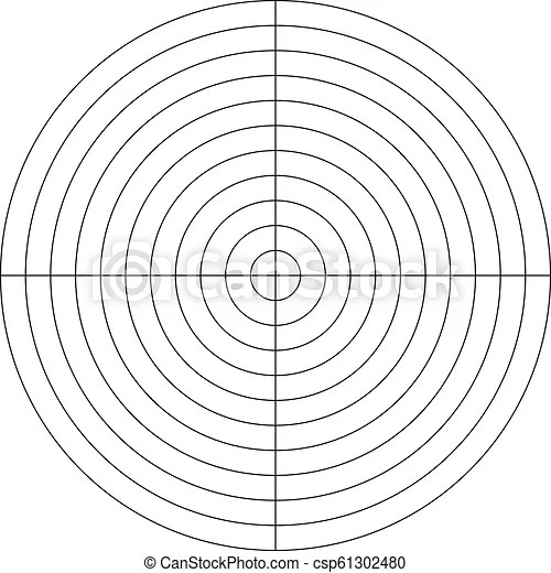 Polar grid of 10 concentric circles and 90 degrees steps