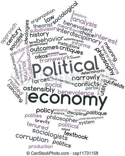 Abstract word cloud for political economy with related