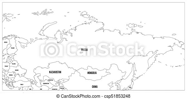 Political map of russia and surrounding countries. black