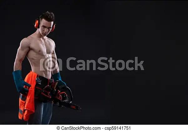 portrait of aggressive muscular