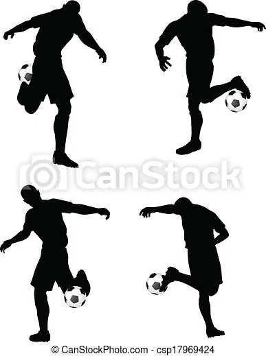 Isolated poses of soccer players silhouettes in dribble