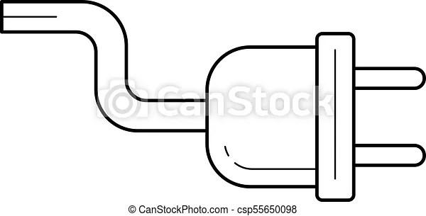Power cord vector line icon. Electric plug line icon