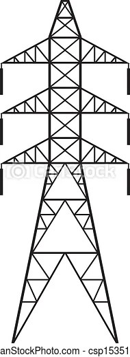 Power line (silhouette of power line and electric pylon